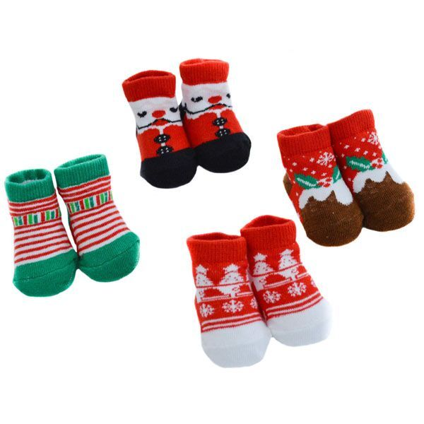 Babies Christmas Socks  (one pair, 0-6 months)- Select  Design)