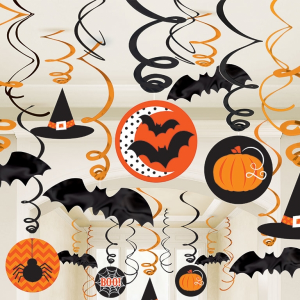 Halloween Swirls Decoration Pack (includes 30 decorations with cut-outs)